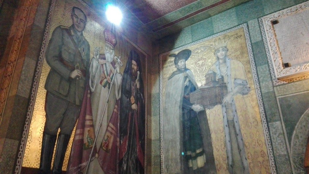 Mihai Viteazul si Antonescu la biserica Mihai Voda din Bucuresti