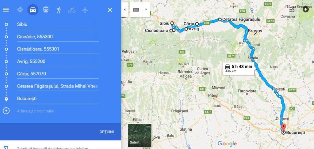 traseu turistic Sibiu, Cisnadie, Cisnadioara, Avrig, Carta, Cetatea Fagarasului, Bucuresti