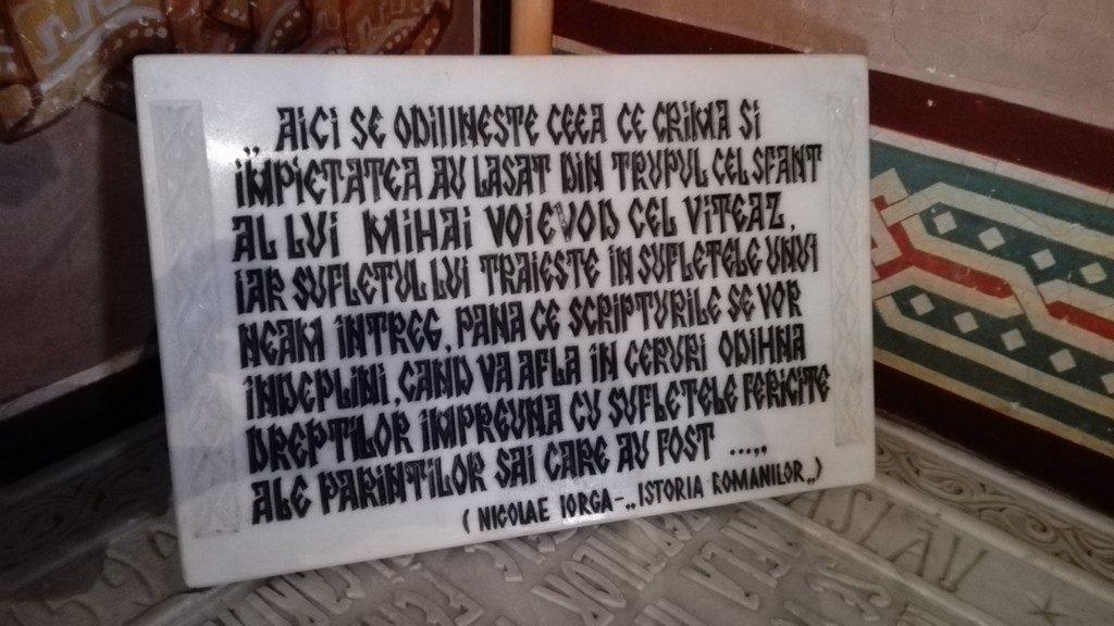Mormantul lui Mihai Viteazul, Manastirea Dealu, Storck, Nicolae Iorga