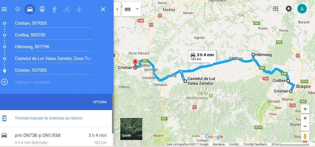 traseu turistic Transilvania, Cristian, Codlea, Halmeag, Castelul de lut Valea Zanelor