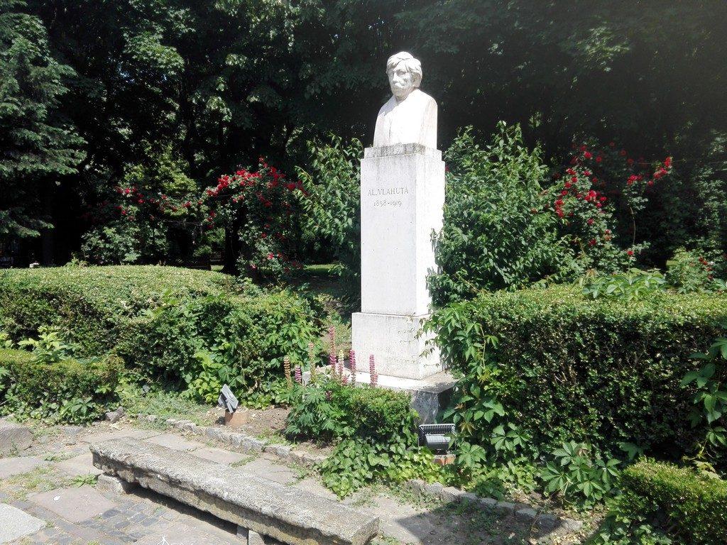 Alexandru Vlahuta, realizat de sculptorul Oscar Han Parcul Cismigiu, obiective turistice Bucuresti, Romania
